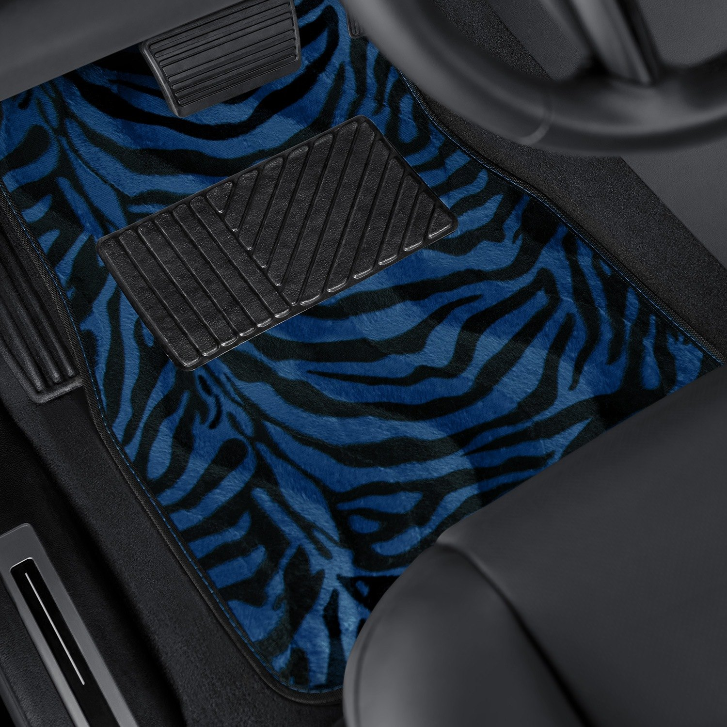 OxGord® - Zebra/Tiger Stripe Style Carpeted Floor Mats with Heel Pad