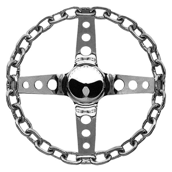 Grant® - 4-Spoke Chrome Steel Chain Series Steering Wheel with Chrome Chain Grip