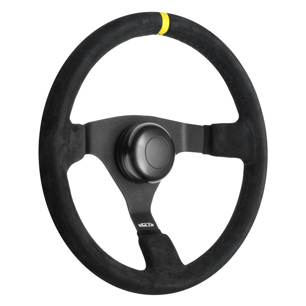 GT Performance® - GT3 Pro-Touring Switchback Suede Leather Steering Wheel with Yellow top Marker