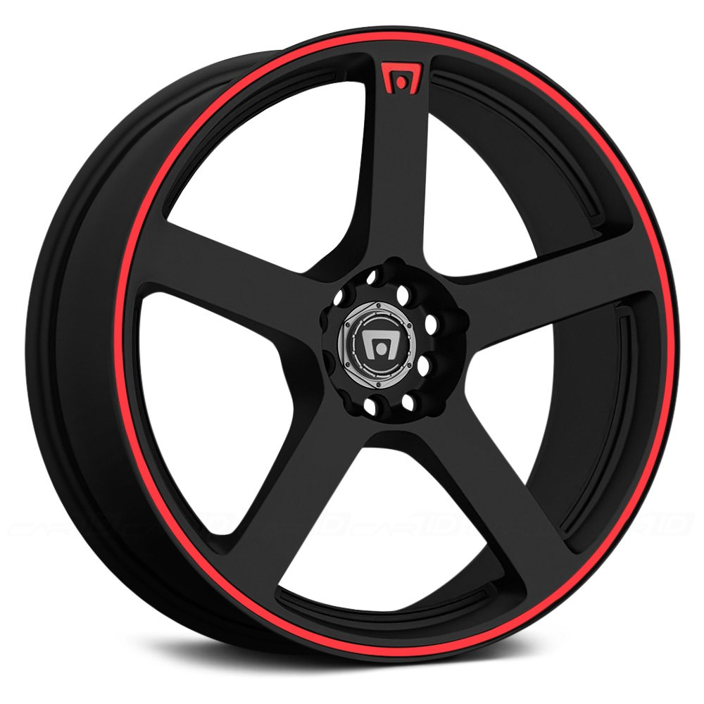MOTEGI RACING® - MR116 Matte Black with Red Stripe
