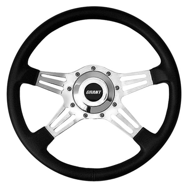 Grant® - 4-Spoke Polished Aluminum Double-Slot Le Mans Series Steering Wheel with Black Hand Stitched Leather Grained Vinyl Grip