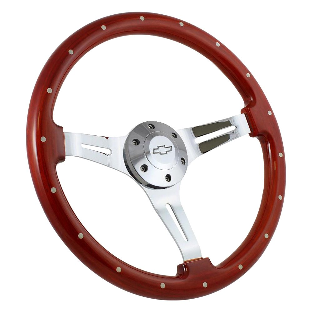 Forever Sharp® - 3-Spoke Classic Wood Steering Wheel with Rivets