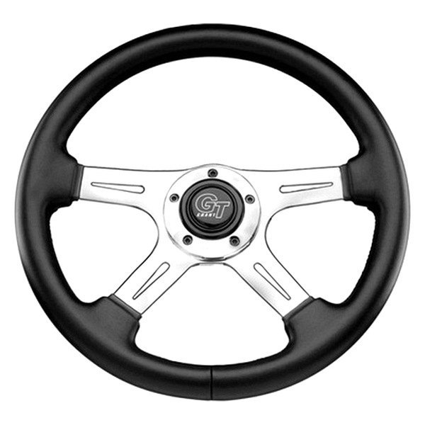 Grant® - 4-Spoke Polished Aluminum Elite GT Steering Wheel with Black Hand Stitched Leather Grained Vinyl Grip
