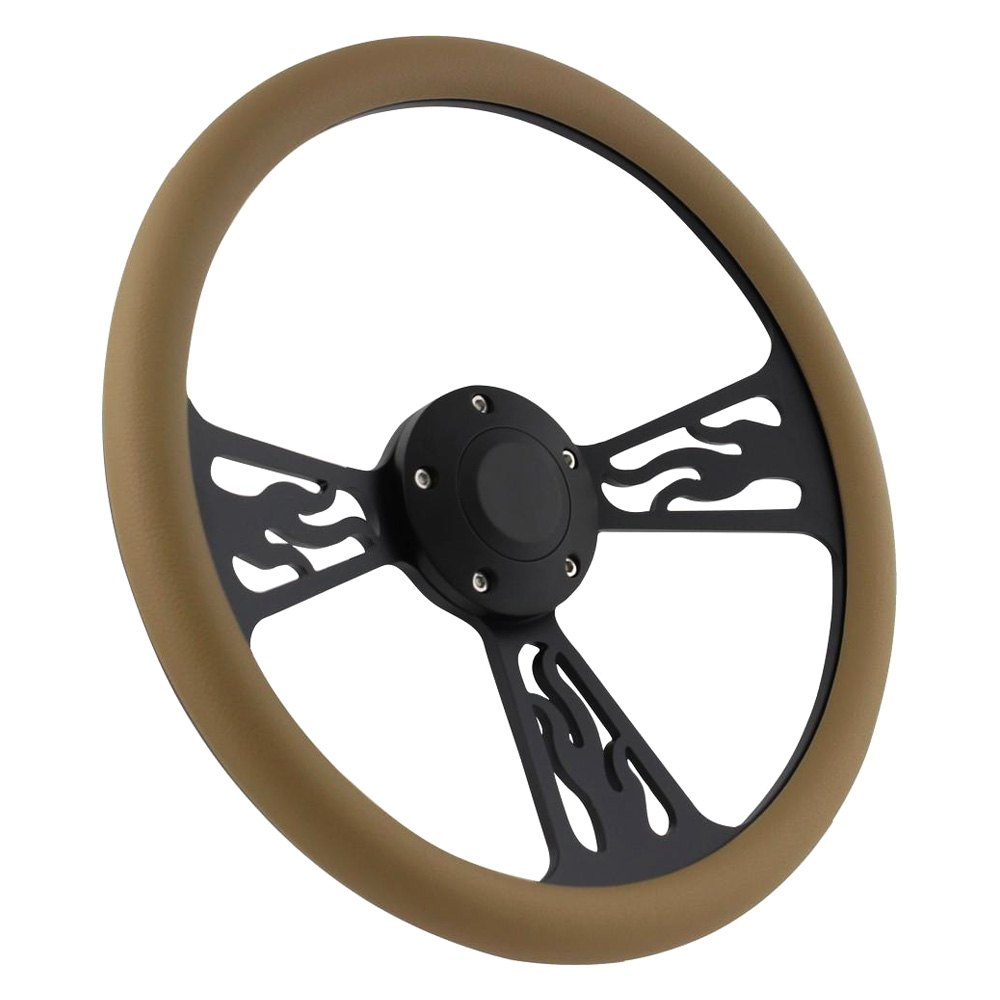 Forever Sharp® - 3-Spoke Flame Steering Wheel with Half Wrap