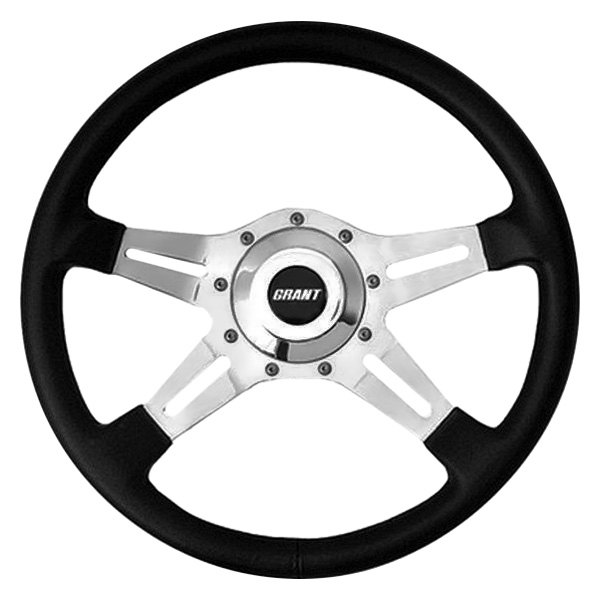 Grant® - 4-Spoke Polished Aluminum Slot Le Mans Series Steering Wheel with Black Hand Stitched Leather Grained Vinyl Grip