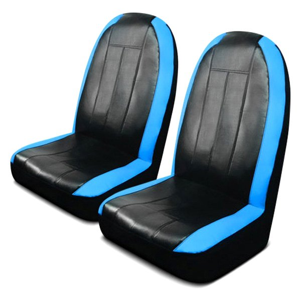 Pilot® - Synthetic Leather Black/Blue Sport Seat Covers