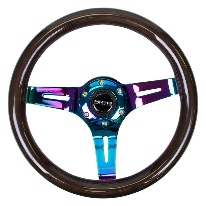 NRG Innovations® - 3-Spoke Slotted Classic Black Wood Grain Steering Wheel